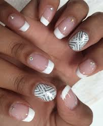 white french mani with rhinestones silver nail art summer 2014