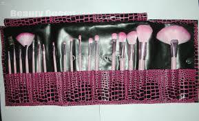 cosmetic brushes set makeup brush set pony hair animal skin pink
