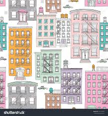 seamless quirky brownstone homes new york stock vector 201752420