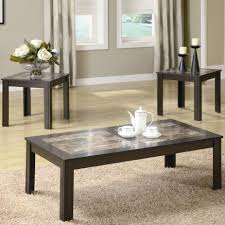 Living Room Coffee And End Tables Contemporary Faux Marble Coffee End Table 3 Set By Coaster