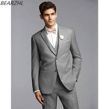 mens light gray 3 piece suit men form dress for wedding tuxedo light gray custom made suits man 3