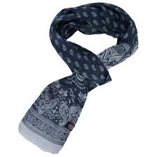 pretty green mens paisley skinny scarf in navy one size from get