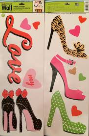 amazon com 1 x high heel shoes hearts removable wall decals amazon com 1 x high heel shoes hearts removable wall decals stickers peel and stick won t harm walls home kitchen