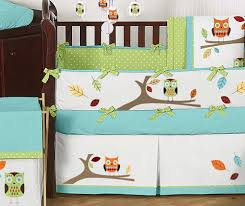 Crib Bedding Owls Turquoise And Lime Hooty Owl Baby Bedding 9 Pc Crib Set Only 189 99