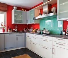 red and aqua kitchen one day im gonna own a house and this is how
