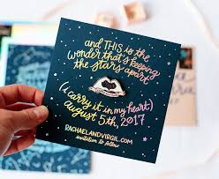 modern holographic foil and enamel pin wedding invitations