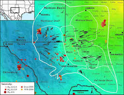 New Mexico Maps Stress Map Profiles Induced Earthquake Risk For West Texas New Mexico