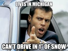 Michigan Memes - lives in michigan can t drive in 1 of snow asshole driver