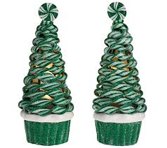 set of 2 illuminated peppermint cupcake trees by valerie u2014 qvc com