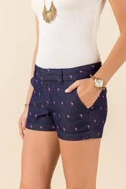 navy trista flamingo print shorts francesca u0027s