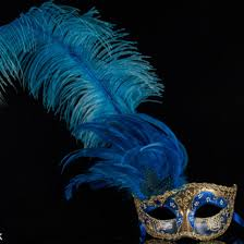 gold masquerade mask feather masquerade mask colombina ciuffo can can gold blue