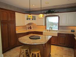 Two Toned Kitchen Cabinets by Corner White Brown Wooden Cabinet Combined With Cream Counter Top