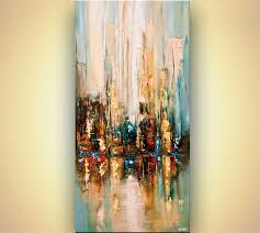 Hanging Artwork Prints Painting Modern Palette Knife Abstract City Painting Wall