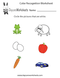 free preschool color recognition worksheet