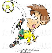 printable illustration of a cartoon boy kicking a soccer ball by