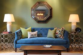 Living Rooms With Blue Couches by Living Room With Green Wallpaper And Blue Sofa Hupehome