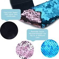different color purples amazon com mermaid bracelet 2 color reversible sequin bracelets