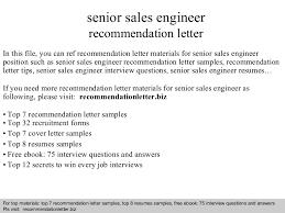 senior sales engineer recommendation letter