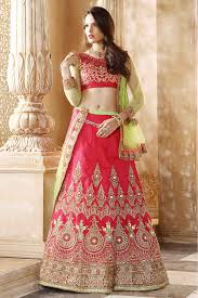 bridal wear and jacquard bridal wear lehenga choli in pink colour