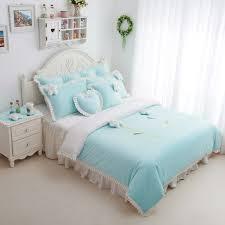 Discount Girls Bedding by Sunflowers Light Bule Girls Velvet Ruffle Bedding Sets Girls