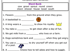 practice reading vowel diphthongs ow worksheet education com