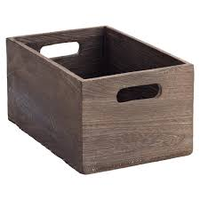x small feathergrain wood bin the container store