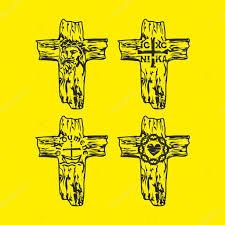 set of crosses jesus god trinity crown of thorns christian