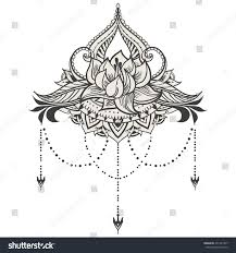 handdrawn lotus east style can be stock vector 451427947