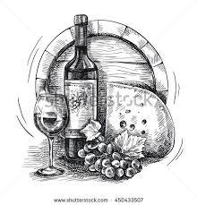 vector sketch wine set bottle glass stock vector 284202035