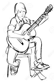 sketch of boy playing on the guitar on white background royalty
