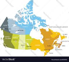 Quebec Canada Map Map Of Provinces And Territories Of Canada Vector Image
