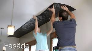 ceiling panel installation fasade glue up ceiling tiles youtube