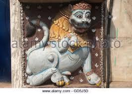 asian lion statues lion statue entrance of temple puri orissa india asia stock