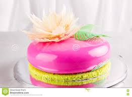 mirror glaze cake bright pink mousse cake with mirror glaze stock photo image