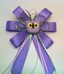 owl baby shower pin corsage purple ribbon for forest or owl