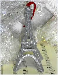 country glittered eiffel tower tree ornament