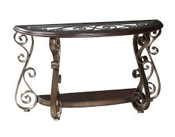 Antique Console Table Standard Furniture Bombay Half Moon Glass Top Console Table In