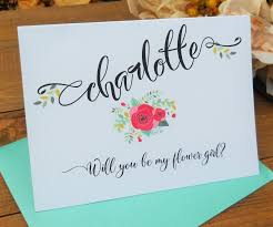 will you be my flower girl gifts personalized will you be my flower girl card shimmer envelope
