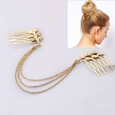 decorative hair combs free ship personality womens hair jewelry gold plated tone leaf