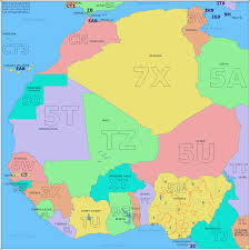 Africa Time Zone Map by Amateur Radio Prefix Map Of West Africa