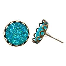 druzy stud earrings aqua blue druzy stud earrings bronze faux