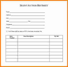 Bid Sheets For Silent Auction Template 8 Silent Auction Forms Cashier Resume