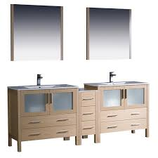84 Bathroom Vanity Double Sink 84 Inch Light Oak Modern Double Sink Bathroom Vanity With Side