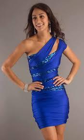 cheap short royal blue sequin cocktail dress one shoulder