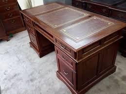 Computer Desk Mahogany Antique Style Leather Top Mahogany Captains Writing Computer Desk