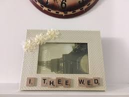 handmade frame display i thee wed scrabble gifts rustic