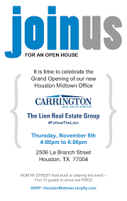 New Office Opening Invitation Card Houston Real Estate Expansion And Grand Opening