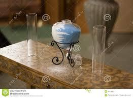Sand Vases For Wedding Ceremony Wedding Sand Ceremony With Glass Heart Vase Stock Photo Image