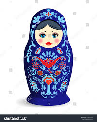 russian nesting doll on white background stock vector 636428648