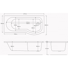 L Shaped Bath Shower Screen Energise Shower Bath Left Hand 1675x800x700 With Panels And Screen
